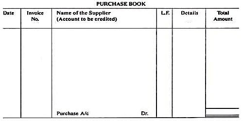 Format of Purchase Book