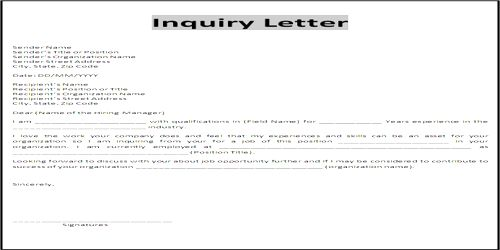 Contents or Elements of Personal Status Inquiry Letter