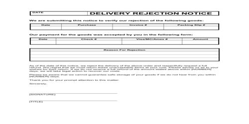 Meaning of Order Refusal Letter