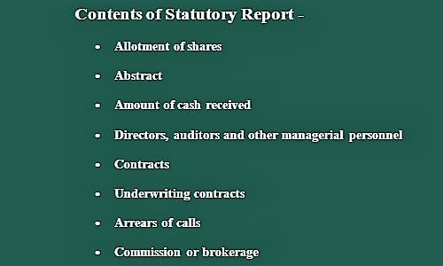 contents of statutory report 1