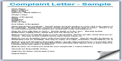 how to begin a letter of complaint