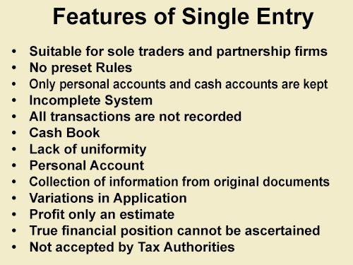 Features of Single Entry