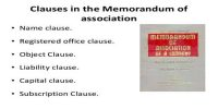 Object Clause of Memorandum of Association
