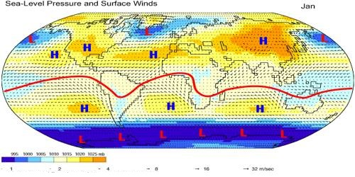Surface Pressure and Winds in the Summer Season