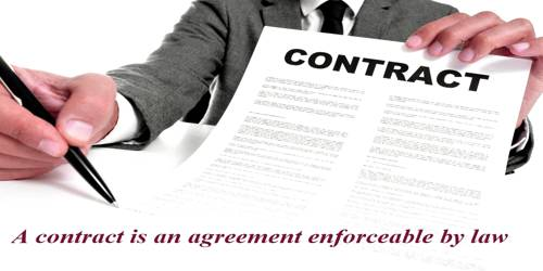 A contract is an agreement enforceable by law – explanation