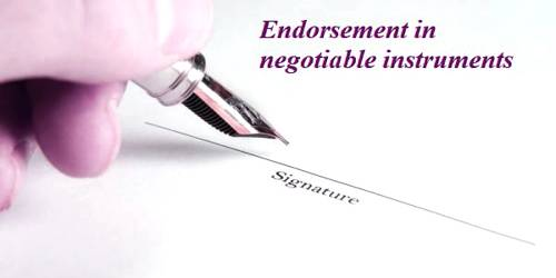 Endorsement in negotiable instruments