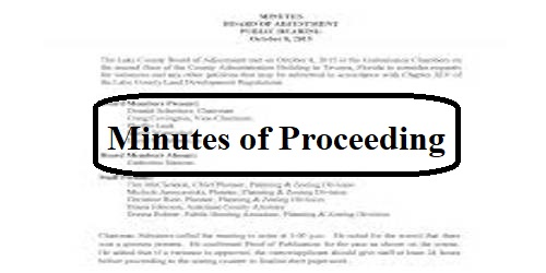 Minutes of Proceeding