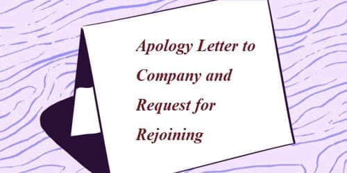 Apology Letter to Company and Request for Rejoining