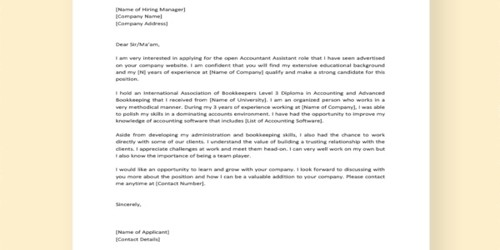 Cover Letter for Accounts Administrator