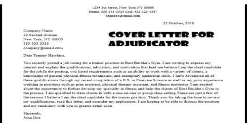 Cover Letter for Adjudicator Job Position