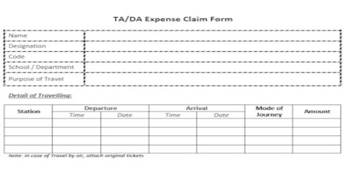 Application for Travelling Allowance from Company