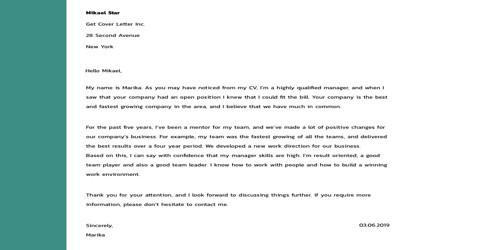 Cover Letter for 3d Artist