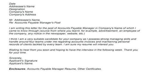 Cover Letter for Accounts Payable Manager