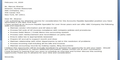 Cover Letter for Accounts Payable Specialist