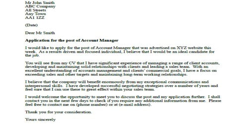 Cover Letter for Sales Account Manager