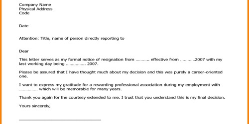 Formal Professional Job Resignation Letter Format