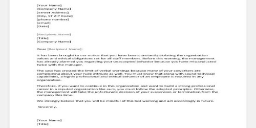 Job Suspension Letter for Misconduct