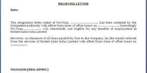 No Objection (NOC) letter for Leaving Job