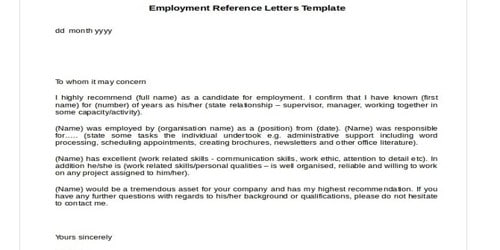 Recommendation Letter for a Candidate for Job