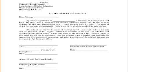 Contract Renewal Letter of an Agreement
