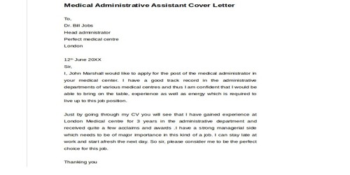 Cover Letter for Administrative Medical Assistant