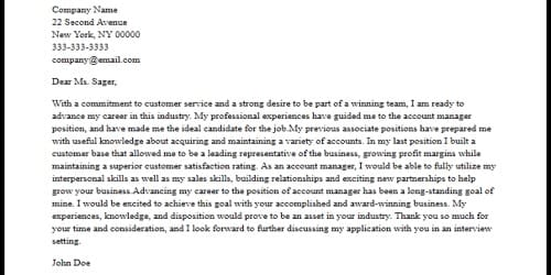 Cover Letter for Advertising Account Manager