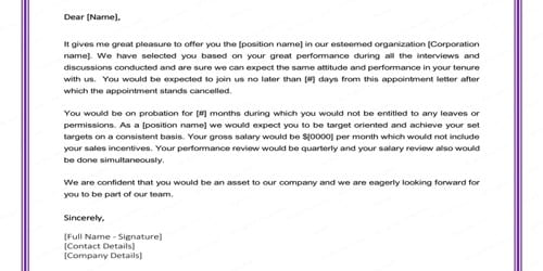 Job Offer Letter for Employment