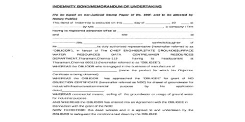 Sample Memorandum of Undertaking Letter Format