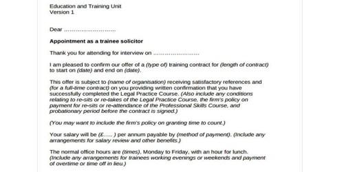 Offer Letter for Training