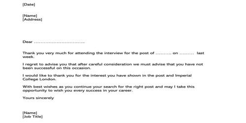 Post Interview Regret Letter