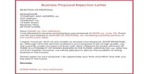 Proposal Rejection Letter