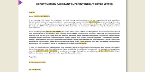 Cover Letter for Assistant Construction Superintendent