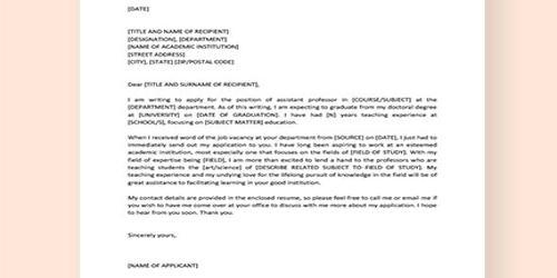 Cover Letter for Assistant Professor