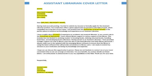 Cover Letter for Assistant Librarian