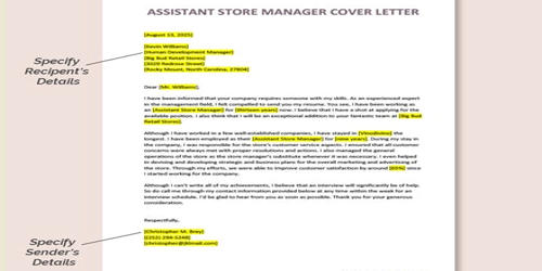 Cover Letter for Assistant Store Manager