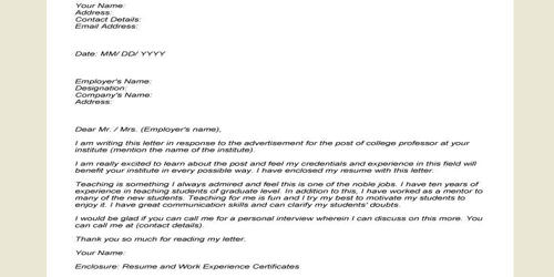 Cover Letter for Associate Professor