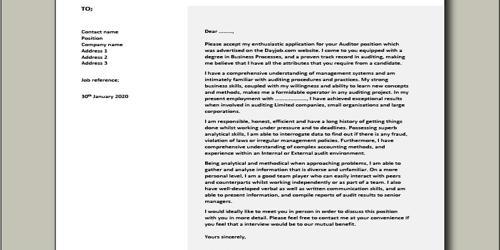 Cover Letter for Audit Manager