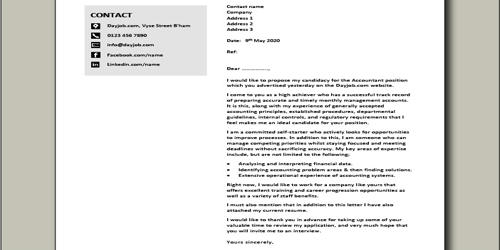 Cover Letter for Chartered Accountant