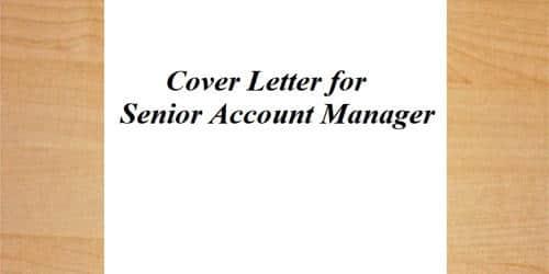 Cover Letter for Senior Account Manager