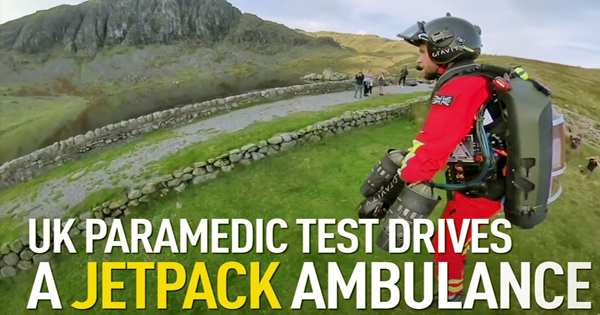 A paramedic jet suit is trialed by a test pilot for mountain rescue