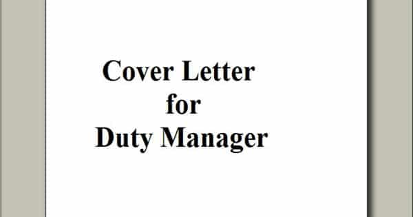 Cover Letter for Duty Manager