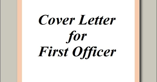 Cover Letter for First Officer