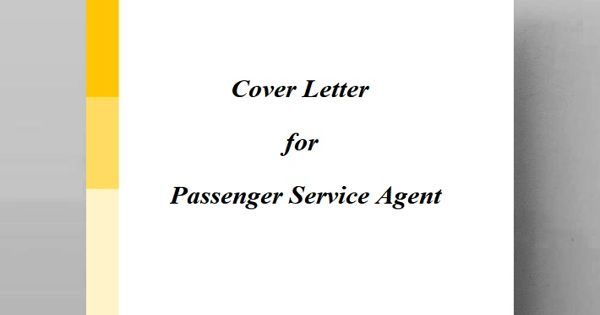 Cover Letter for Passenger Service Agent